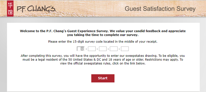 guest satisfaction survey at PF Changs