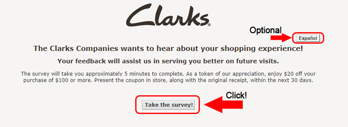 first page of clarks customer survey