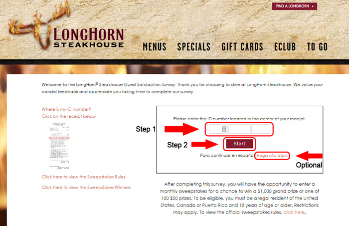 longhorn steakhouse survey landing page