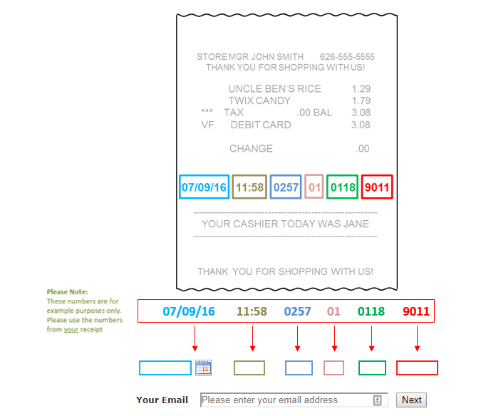 Albertsons Survey receipt validation