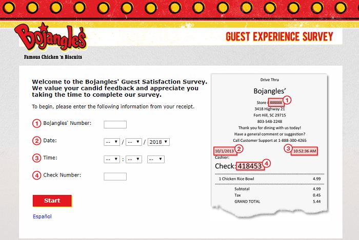 Bojangles Survey web page